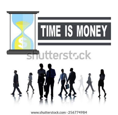 Time Money Hour Glass Business People Concept - stock photo