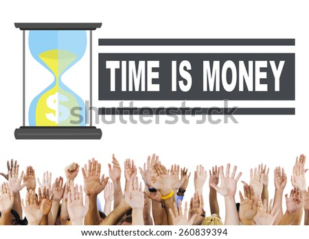 Time Money Hour Glass Hands People Concept - stock photo