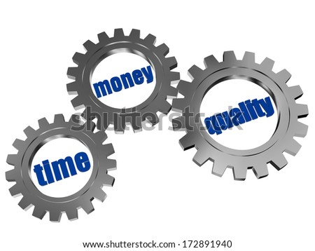 time, money, quality - text in 3d silver grey metal gear wheels, business concept words - stock photo