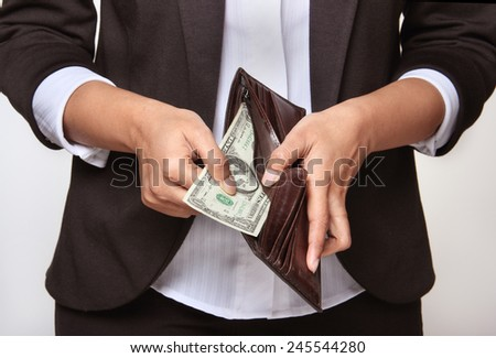 TIme of crisis - person having no money - stock photo