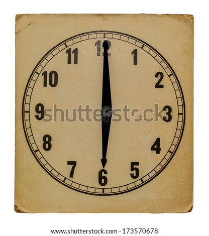 Time on old wall clock six pm. Isolated from background - stock photo