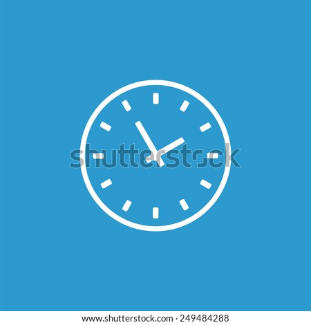 Time outline icon, isolated, white on the blue background. Exclusive Symbols  - stock photo