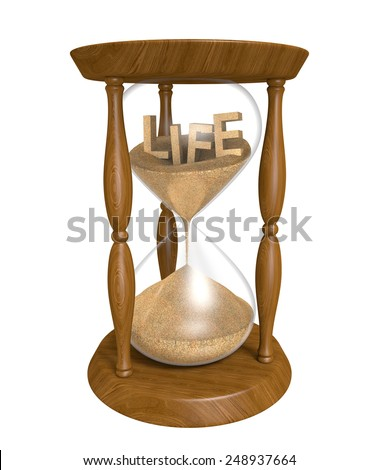 Time passing as sand in an old hourglass trickles down and life runs out - stock photo