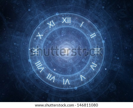 Time - roman clock - new age spiritual space concept