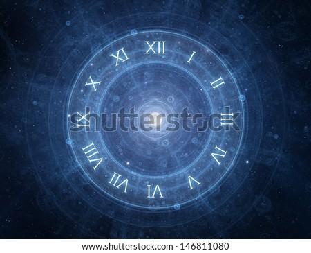 Time - roman clock - new age spiritual space concept - stock photo