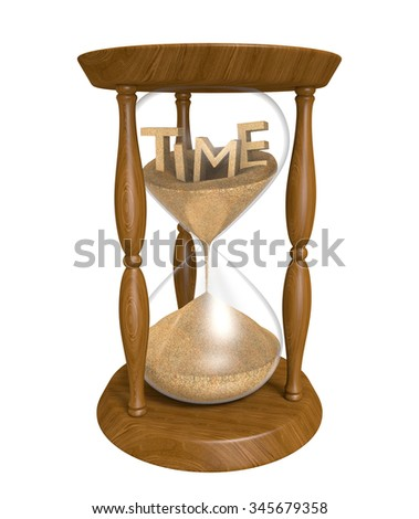 Time running out in an old hourglass, isolated on white background - stock photo