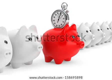 Time Save Concept. Red Piggy Bank with Stopwatch on a white background - stock photo