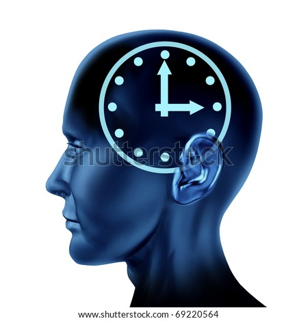 time schedule appointment late clock Brain head mind idea intelligence isolated - stock photo