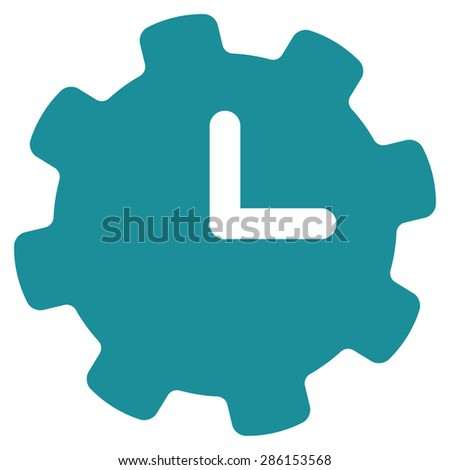 Time settings icon from Business Bicolor Set. This flat glyph symbol uses soft blue color, rounded angles, and isolated on a white background. - stock photo