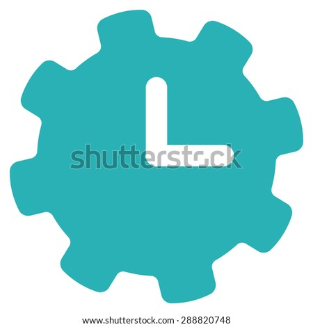 Time settings icon from Business Bicolor Set. This flat raster symbol uses cyan color, rounded angles, and isolated on a white background. - stock photo
