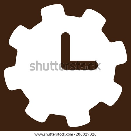 Time settings icon from Business Bicolor Set. This flat raster symbol uses white color, rounded angles, and isolated on a brown background. - stock photo