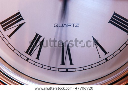 Time shown to be moving fast by blurred hands - stock photo