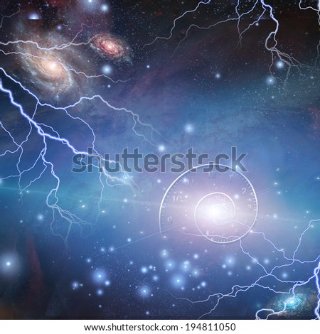 Time Space Quantum Particles - stock photo