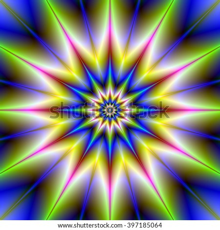 Time Star / A digital abstract fractal image with a twelve pointed star design in blue, green, pink and yellow.