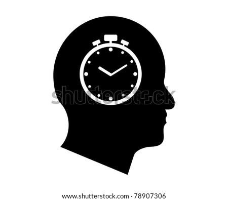 Time symbol in a man's head illustration