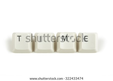 time text from scattered keyboard keys isolated on white background