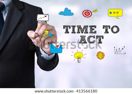 TIME TO ACT Businessman drawing Landing Page on blurred abstract background - stock photo