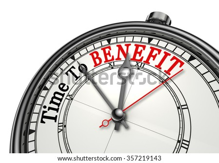 Time to benefit motivation concept clock, isolated on white background