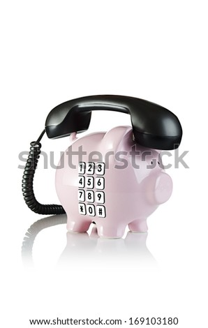 Time to call your banker. Piggy bank telephone. - stock photo
