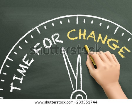 time to change written by hand on blackboard - stock photo