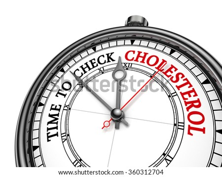 Time to check cholesterol level alarming message on concept clock, isolated on white background - stock photo