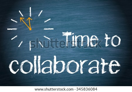 Time to collaborate - clock with text on blue background
