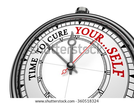 Time to cure yourself motivation on concept clock, isolated on white background