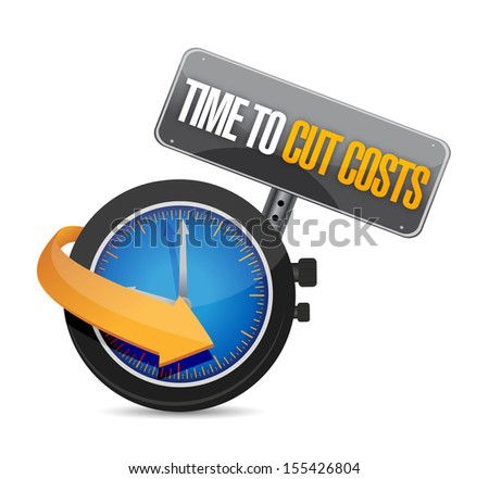 time to cut cost concept illustration design over white - stock photo