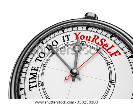 Time to do it yourself red message on concept clock, isolated on white background