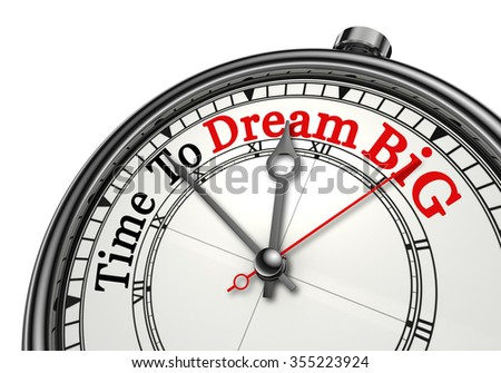 Time to dream big red word on concept clock, isolated on white background