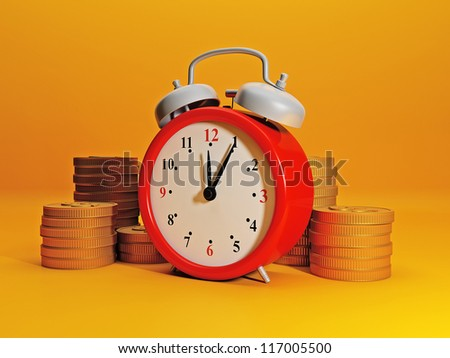Time to earn money. Alarm clock symbolizes time and team gold. Efficient business, great income in a short time - stock photo