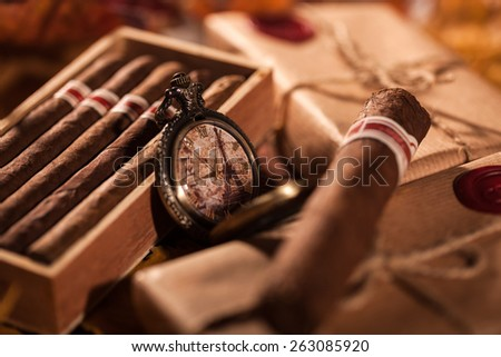 Time to enjoy! Two parcels with top quality Cuban cigars - a great gift from best friend - stock photo
