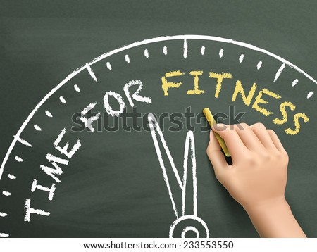 time to fitness written by hand on blackboard - stock photo