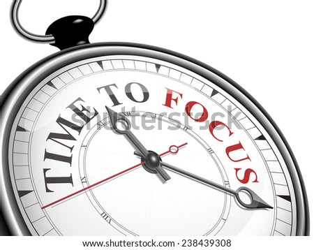 time to focus concept clock isolated on white background
