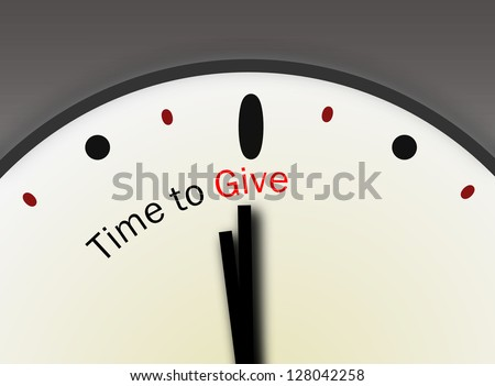 Time to give charity concept indicating be generous and rise to the occasion giving financial support to poor and needy. Christmas holiday giving. - stock photo