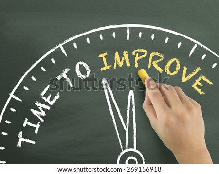 time to improve written by hand on blackboard - stock photo