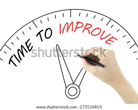 time to improve written by man's hand on white background - stock photo