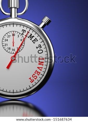 """Time To Invest Concept. Stopwatch with """"Time To Invest"""" slogan on a blue background. 3D Render. - stock photo"""