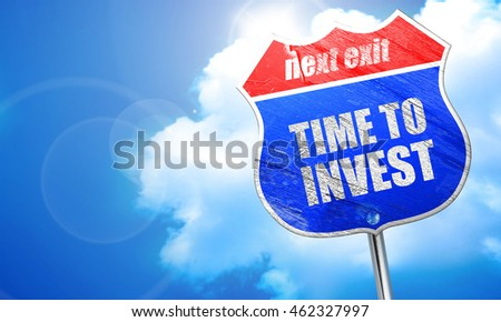 time to invest, 3D rendering, blue street sign