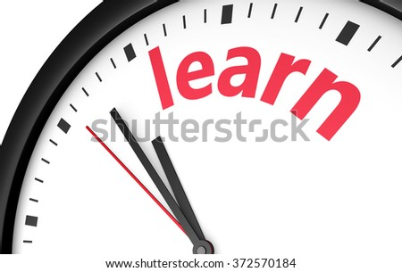 Time to learn education concept with a clock and learn word and sign printed in red 3d render illustration.
