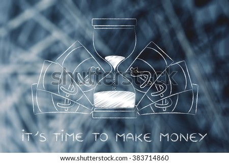 time to make money: hourglass surrounded by cash