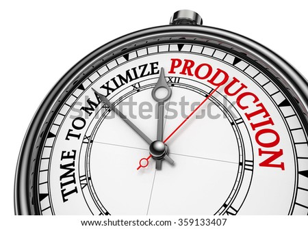 Time to maximize production concept clock, isolated on white background
