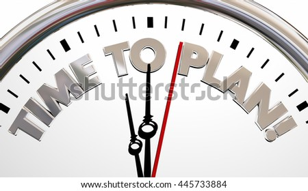 Time to Plan Clock Project Strategy Goal 3d Illustration - stock photo