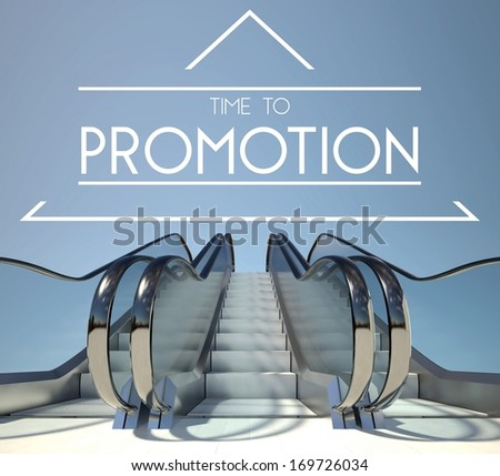 Time to promotion concept with stairway to heaven - stock photo