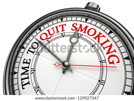 time to quit smoking concept clock on white background with red and black words