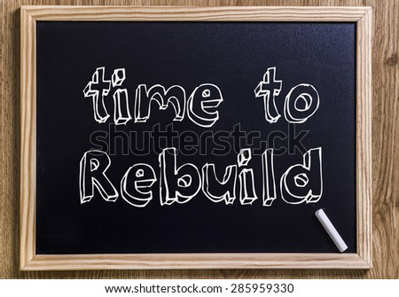Time to rebuild - New chalkboard with 3D outlined text - on wood