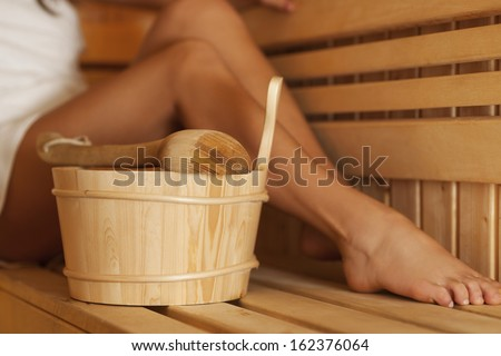 Time to relaxing in sauna   - stock photo