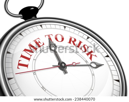 time to risk concept clock isolated on white background - stock photo
