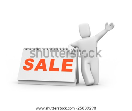 Time to sale. Person and calendar. Easy editable image - stock photo