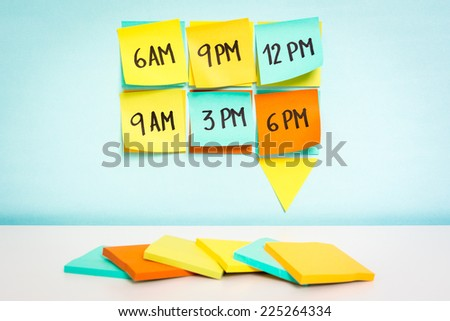 Time to schedule board on blue background. Business concept - stock photo